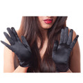 "Black Short Dress Gloves Satin 9"" 12 PK 1201D"