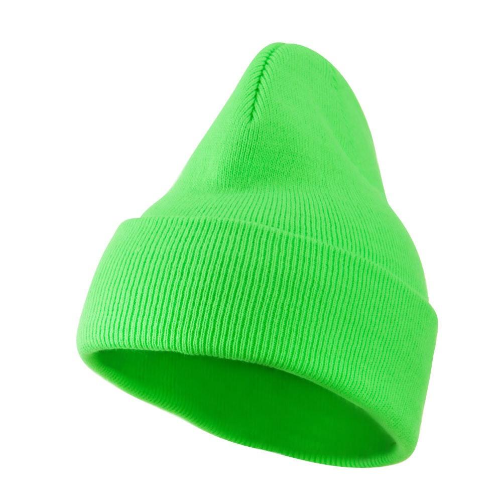 2e0bacd793075 Beanie Long Hat Neon Green Retro 5763
