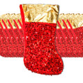 Red Sequin Christmas Stockings 12 PK Bulk 9225D