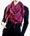 12PK Black And Hot Pink Arab Shemagh Houndstooth Scarf 12 PK WS2075D