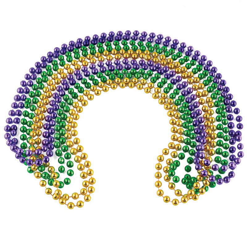 Mardi Gras Party Beads Bulk | 144PK | 8mm Mixed WS6526D