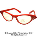 12PK Red Rhinestone Cat Eye Glasses WS1190D