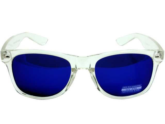 0879dfa4711 Wayfarer Style Clear Frame Blue Lens Sunglasses 7062