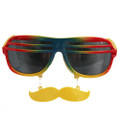 Rainbow Shutter Shades Mustache Adult Sunglasses 7119