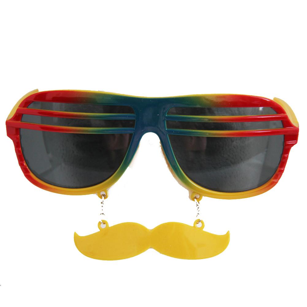 dbc07bda10 Rainbow Shutter Shades Mustache Sunglasses 7119. -. Image 1