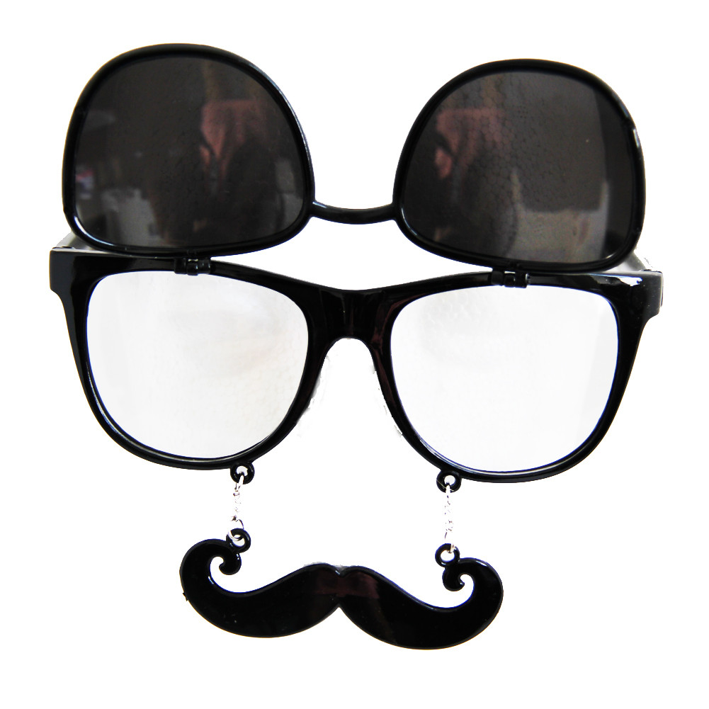 f6a8d2b5ba Flip Up Mustache Sunglasses Black 7402. -. Image 1