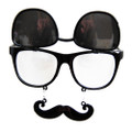 Flip Up Mustache Sunglasses Black 12PK WS7402