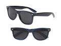 Nautical Navy Blue Adult Metallic 80 Style Sunglasses With Iconics 1078