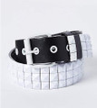 12 PACK Black Studded Belt White Studs Mix Sizes