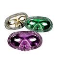 Plastic Mardi Gras Masks Bulk | 24 PACK