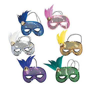 Mardi Gras Masks Sequin Feather | DELUXE 12 PACK