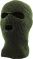 Three Hole Knit Ski Mask 12 PACK  - OLIVE GREEN 3061OD