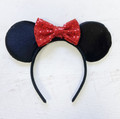 Red Sequin Bow Disney Minnie Ears Headband