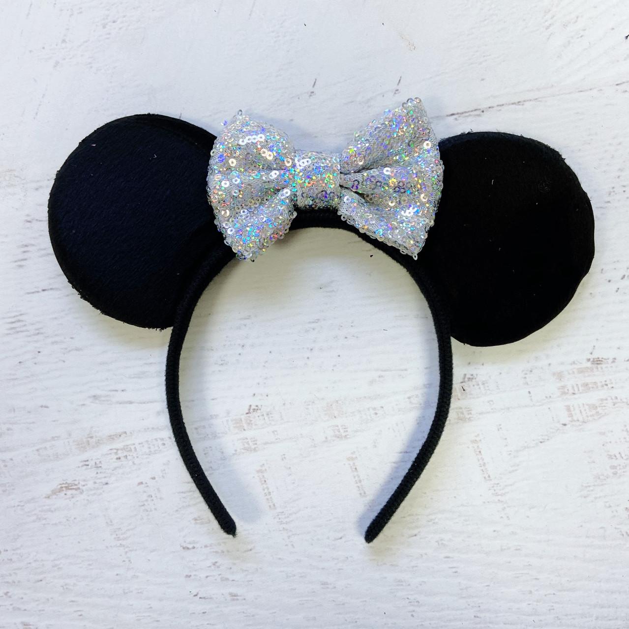 Minnie Mouse Sparkling Black Ears Headband Hot Pink Bow women girl fashion Shiny