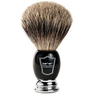 Parker BCPB Pure Badger Shaving Brush - Black & Chrome