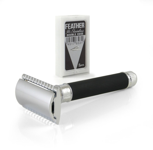Edwin Jagger DE86RC14bl Safety Razor - Black Rubber handle