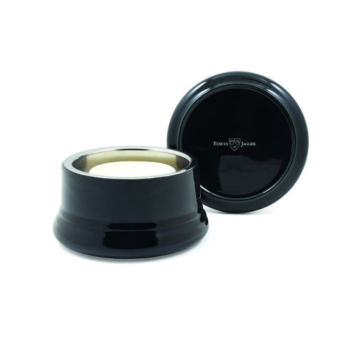Edwin Jagger Ebony Porcelain Shaving Bowl With Lid - RNL06