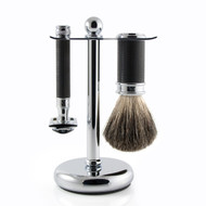 Edwin Jagger Black Chrome 3D Diamond DE Shaving Set