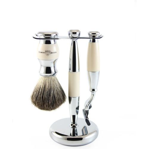 Edwin Jagger Ivory & Chrome Mach 3 Shaving Set