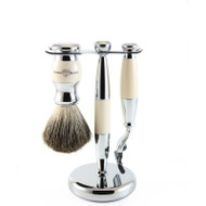 Edwin Jagger Ivory & Chrome Mach 3 Shaving Set