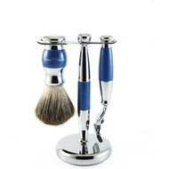 Edwin Jagger Blue & Chrome Mach 3 Shaving Set
