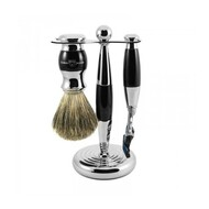 Edwin Jagger Ebony Mach 3 Shaving Set w/ Synthetic Brush
