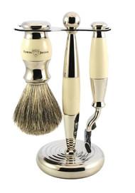 Edwin Jagger Ivory Mach 3 Shaving Set w/ Synthetic Brush