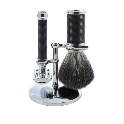 Edwin Jagger Black Chrome 3D Diamond DE Shaving Set - Synthetic brush