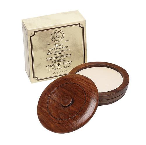 Taylor of Old Bond Street Sandalwood Shaving Soap in a wood bowl