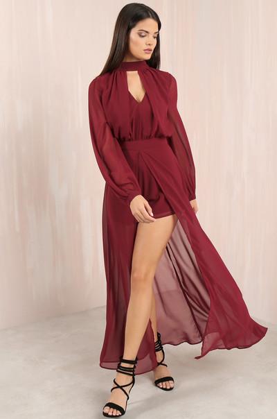 Sheer Up Dress - Wine