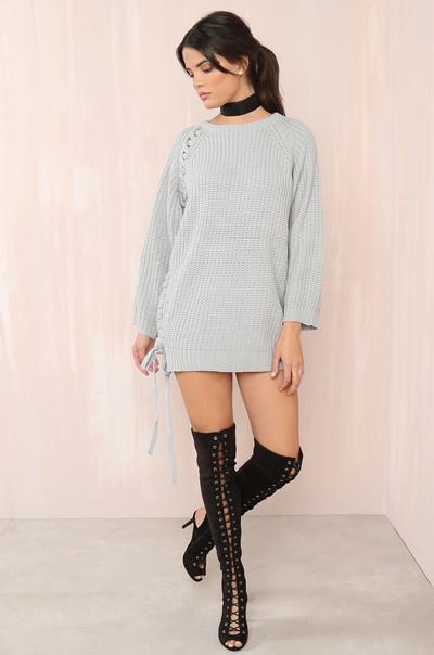 Cutting Knit Close Sweater - Grey