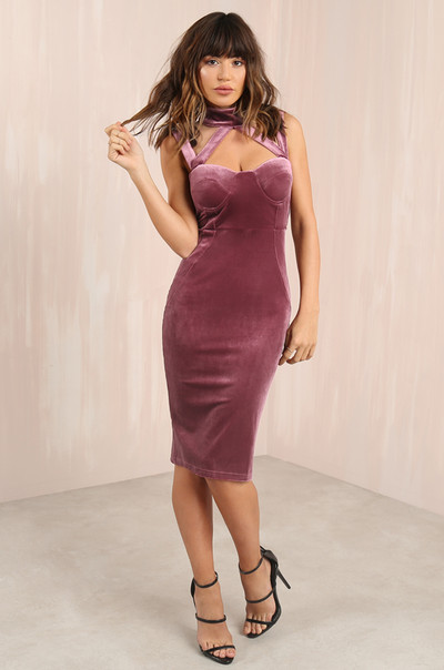 Va-Va-Voom Dress - Mauve Velvet