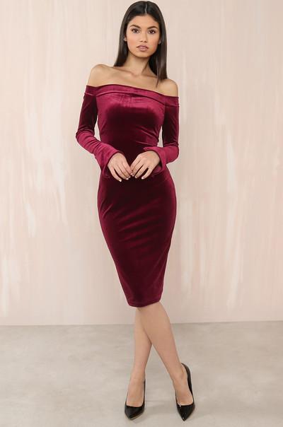 On Sleek Dress - Wine Velvet