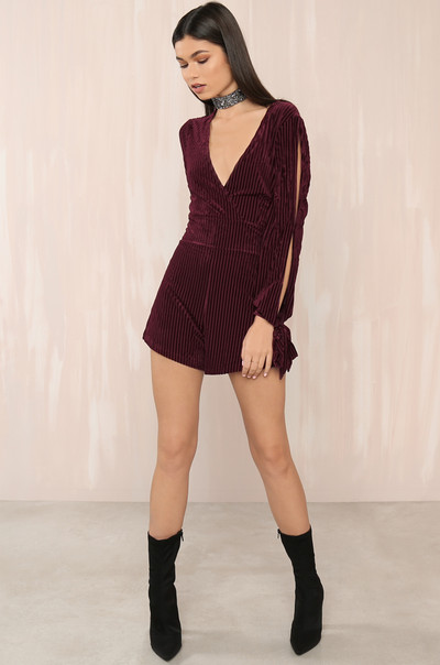 Sneak Peek Romper- Wine