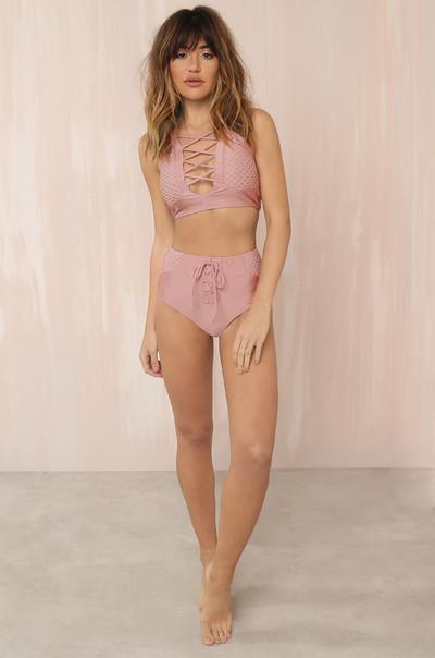 Tied Up Bikini Set - Mauve