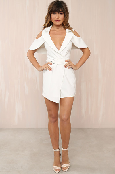 Lady In The Streets Romper - White