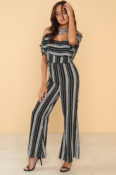 Stripe Club Jumpsuit - Black