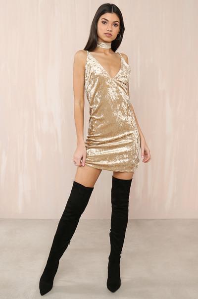 Such A Lush Dress - Gold Velvet