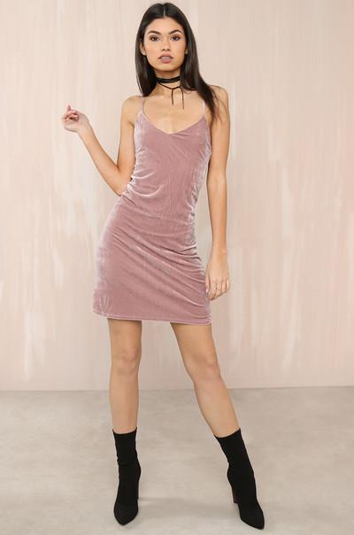 Feelin' Myself Dress - Mauve Velvet