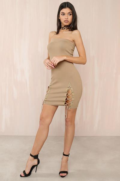 Get In Line Dress - Nude