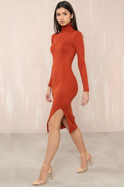 Knit Yours Dress - Rust