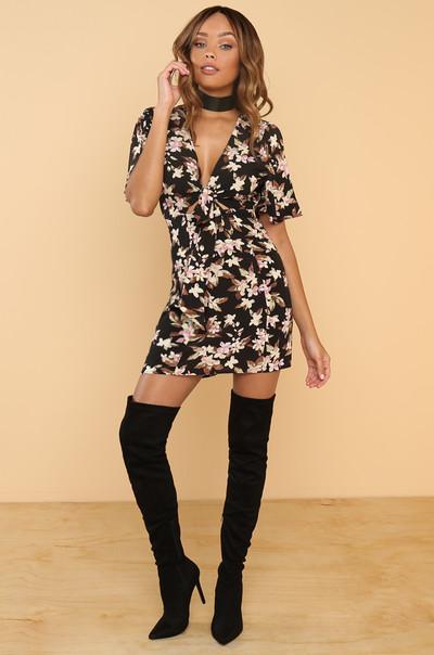 Go Fleur It Dress - Black Floral