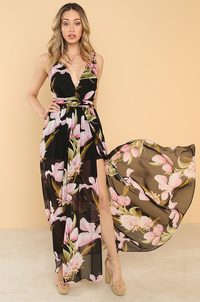 Floral Affair Dress - Black