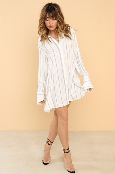 Straight Across Dress - Striped