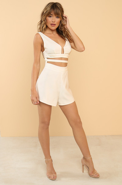 Cut To The Chase Romper - White