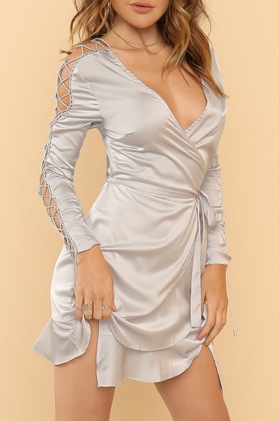 Tie Me Down Dress - Grey Satin