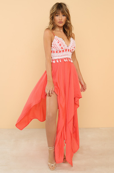 High Volume Dress - Coral