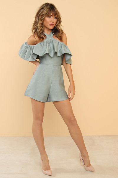 Get Your Frills Romper - Dusty Blue