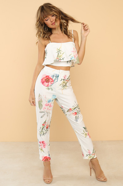Blossoming Co-ord Set - White