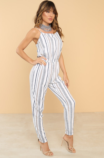 Line It Up Jumpsuit - Striped
